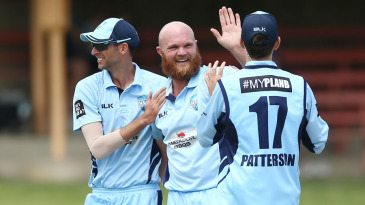 Doug Bollinger is all smiles after a wicket
