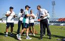 Ben Duckett receives his Test cap from Michael Atherton, Bangladesh v England, 1st Test, Chittagong, 1st day, October 20, 2016