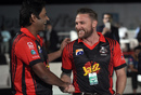 Brendon McCullum shakes hands with Aaqib Javed after joining Lahore Qalandars, PSL draft, Dubai, October 19, 2017