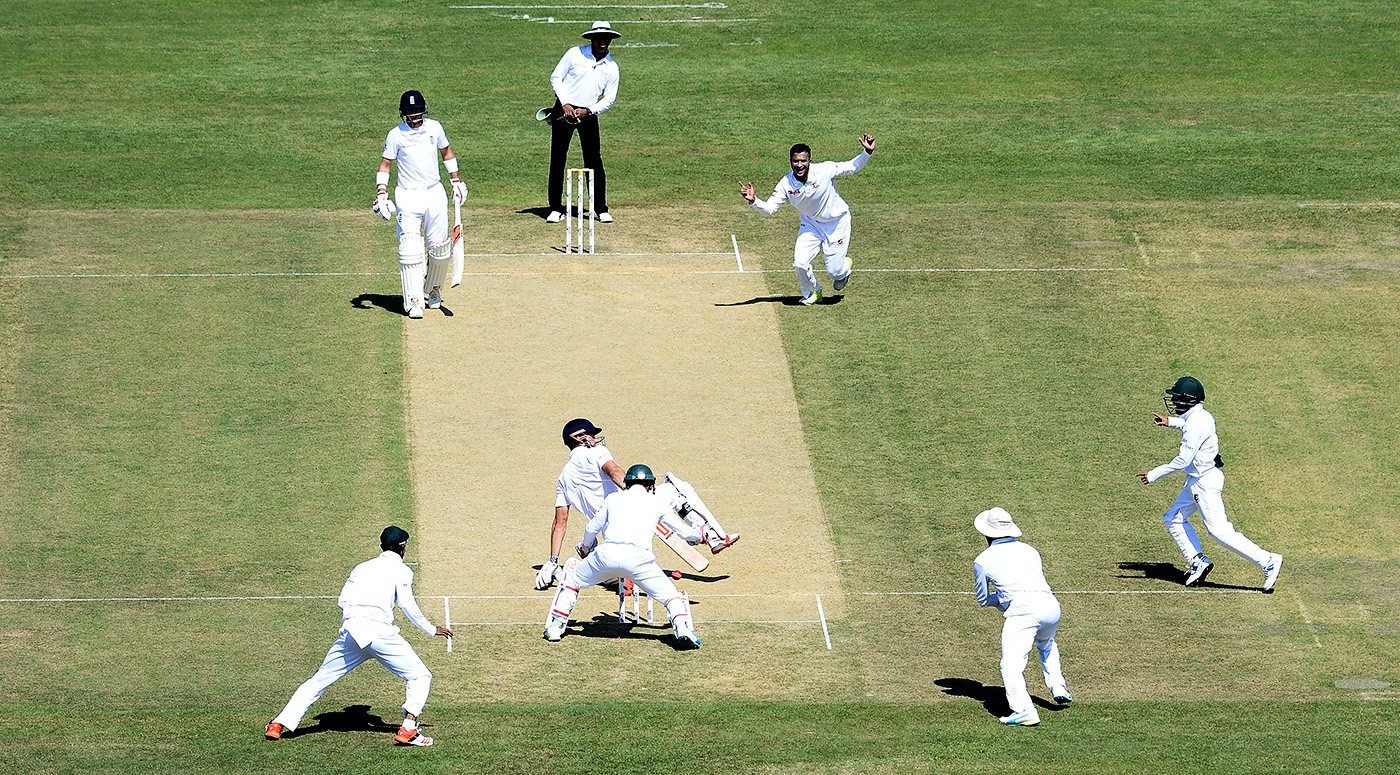 The ball bobbled into Alastair Cook's stumps after he swept
