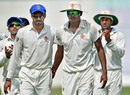 S Aravind and K. Gowtham lead Karnataka off the field, Delhi v Karnataka, Group B, Ranji Trophy 2016-17, Kolkata, 1st day, October 20, 2016