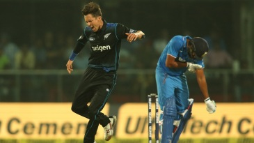 Trent Boult exults after dismissing Rohit Sharma