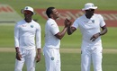 Shannon Gabriel takes a high-five from Jason Holder, Pakistan v West Indies, 2nd Test, Abu Dhabi, 2nd day, October 22, 2016