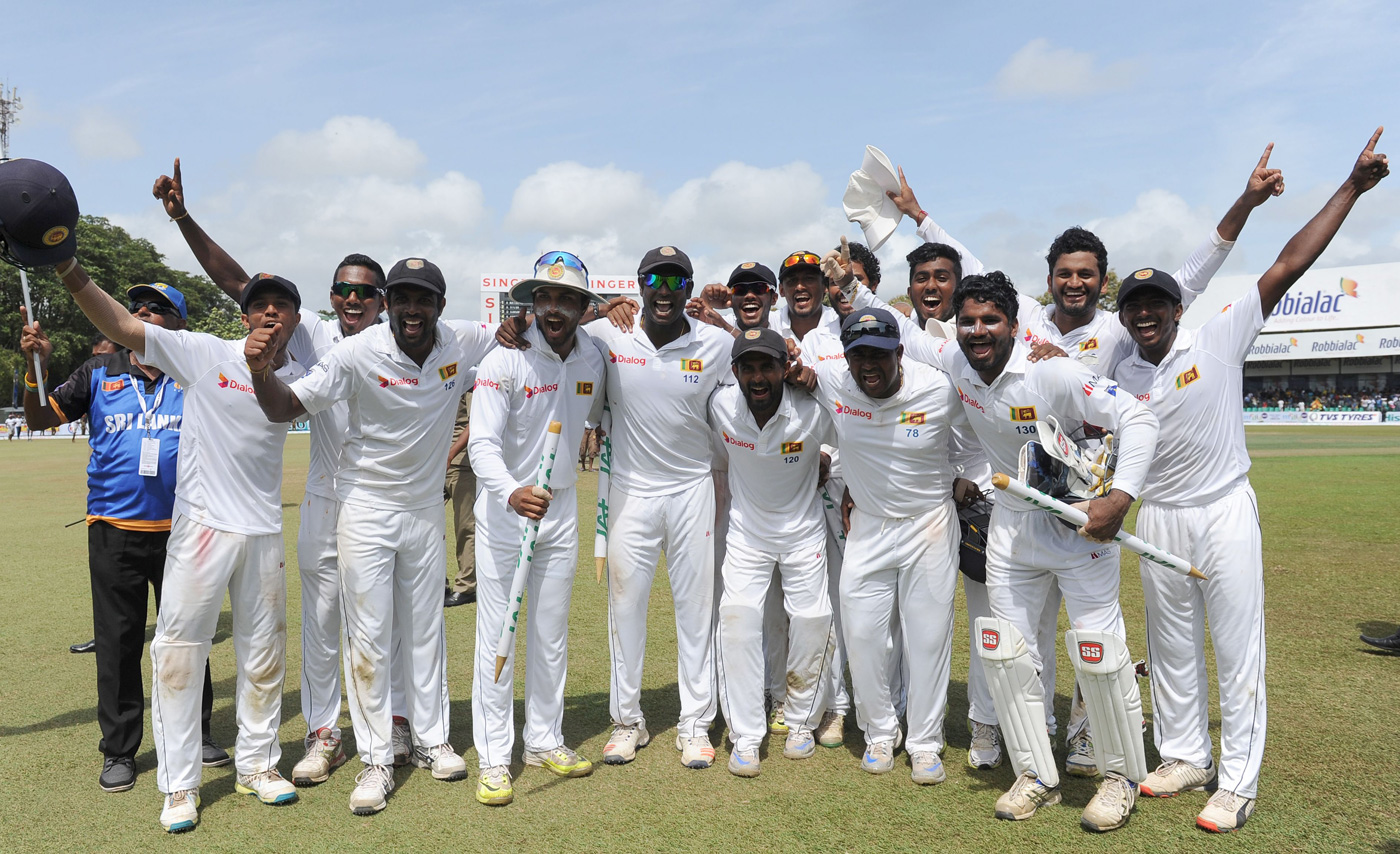 Alphabet soup: Sri Lanka has often had players in their XIs with four or five initials. Two fifers here are: PADLR Sandakan (first from right) and HMRKB Herath (third from right)