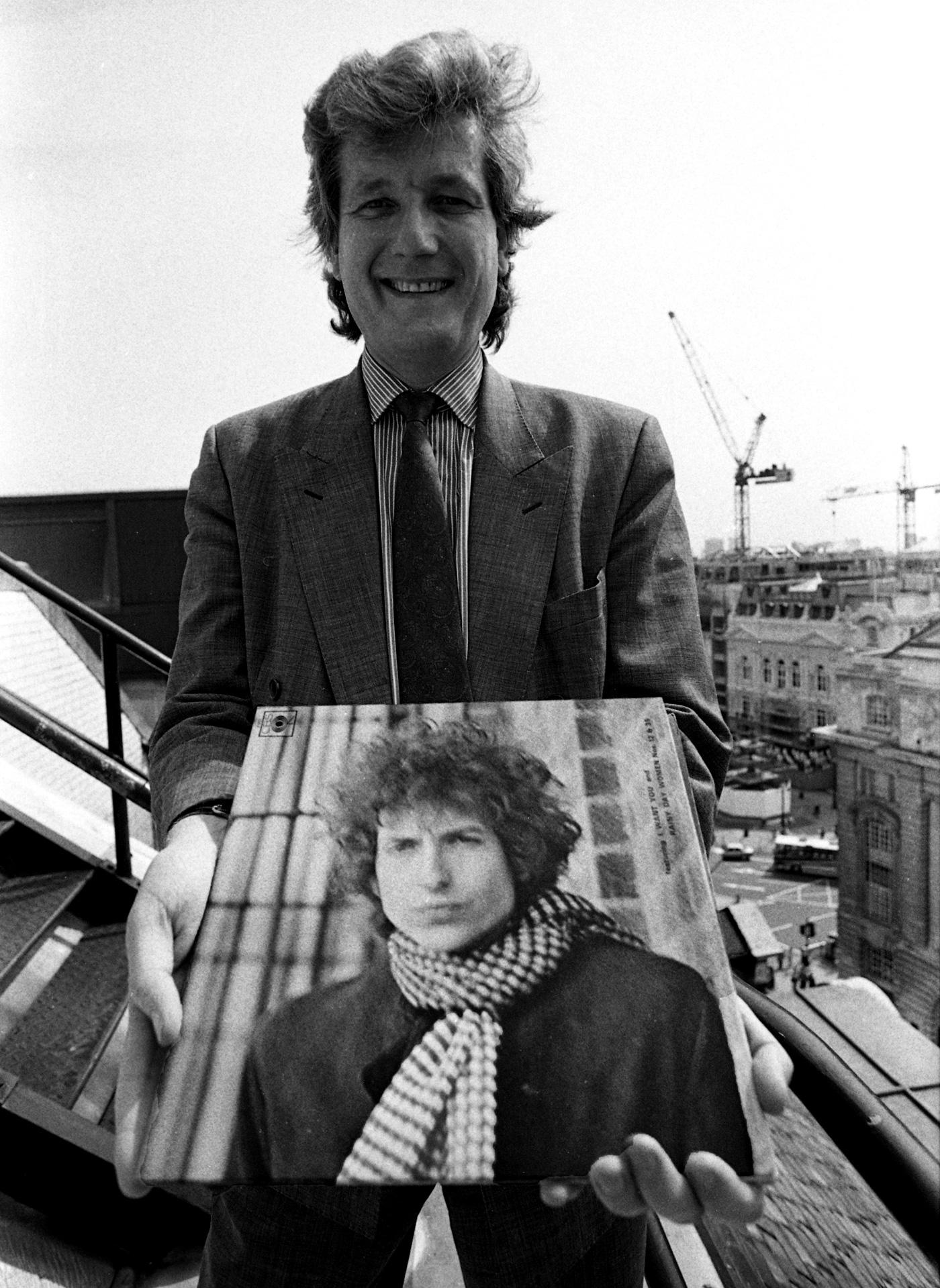 Robert George Dylan Willis with an album by Robert Allen Zimmerman, aka Bob Dylan