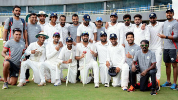 Haryana take time out for a team photo after their 161-run victory over Chhattisgarh