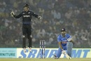 Luke Ronchi jumps up in delight even as MS Dhoni rues his shot after his dismissal, India v New Zealand, 3rd ODI, Mohali, October 23, 2016