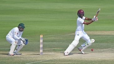 Kraigg Brathwaite plays through the off side