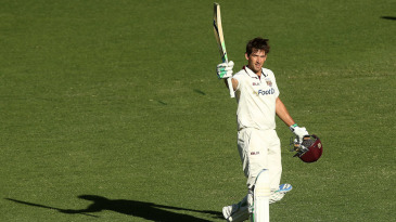 Joe Burns celebrates his 12th first-class hundred