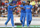 Dhawal Kulkarni is congratulated after getting rid of BJ Watling, India v New Zealand, 4th ODI, Ranchi, October 26, 2016