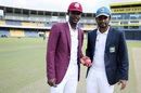 Shamarh Brooks and Dimuth Kuranaratne at the toss, Sri Lanka A v West Indies A, 1st four-day game, Colombo, 1st day, October 4 2016
