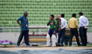 Mushfiqur Rahim discusses the pitch with curator Gamini Silva, 27 October, 2016, Mirpur
