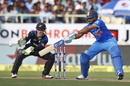 Rohit Sharma goes back to guide the ball, India v New Zealand, 5th ODI, Visakhapatnam, October 29, 2016
