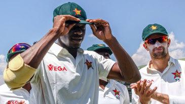 Fast bowler Carl Mumba receives his Zimbabwe Test cap