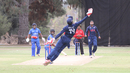 Akeem Dodson leaps full extension for a one-handed catch to remove Tre Manders, USA v Bermuda, ICC World Cricket League Division Four, Los Angeles, October 29, 2016