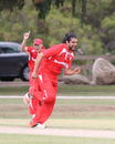Amjad Khan celebrates the wicket of Manpreet Singh, Denmark v Italy, ICC World Cricket League Division Four, Los Angeles, October 29, 2016