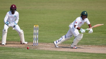 Sami Aslam nudges the ball into the leg side