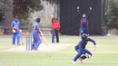Jessy Singh and Akeem Dodson team up for the wicket of Tre Manders, USA v Bermuda, ICC World Cricket League Division Four, Los Angeles, October 29, 2016