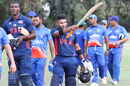 Fahad Babar acknowledges the USA fans after walking off unbeaten on 70, USA v Bermuda, ICC World Cricket League Division Four, Los Angeles, October 29, 2016