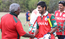 Oman coach Duleep Mendis congratulates Swapnil Khadye on his unbeaten half-century, Jersey v Oman, ICC World Cricket League Division Four, Los Angeles, October 29, 2016