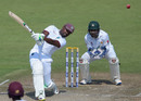 Darren Bravo tries to hit over the offside, Pakistan v West Indies, 3rd Test, Sharjah, 2nd day, October 31, 2016