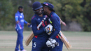Last wicket pair Danial Ahmed and Jessy Singh hug after scoring the winning run, USA v Italy, ICC World Cricket League Division Four, Los Angeles, October 30, 2016