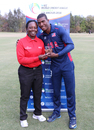 Timroy Allen accepts the Man of the Match award from umpire Jacqueline Williams, USA v Italy, ICC World Cricket League Division Four, Los Angeles, October 30, 2016