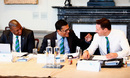 (From left) Adrian Griffith, Ranjan Madugalle and Richard Kettleborough chat during the ICC Cricket Committee meeting at Lord's, June 1, 2016
