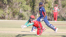 Swapnil Khadye can't hold onto a chance with Steven Taylor on 66, USA v Oman, ICC World Cricket League Division Four, Los Angeles, November 1, 2016