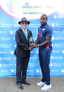 Steven Taylor receives his Man of the Match award from Dev Govindjee, USA v Oman, ICC World Cricket League Division Four, Los Angeles, November 1, 2016