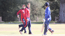 Ben Kynman and Damian Crowley get into an exchange after Crowley's dismissal, Italy v Jersey, ICC World Cricket League Division Four, Los Angeles, November 1, 2016