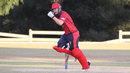 Corey Bisson roars after completing the winning run, Italy v Jersey, ICC World Cricket League Division Four, Los Angeles, November 1, 2016