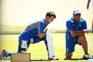 Darren Lehmann and Mitchell Marsh have a laugh during practice
