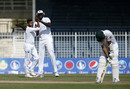 Devendra Bishoo celebrates Azhar Ali's wicket, Pakistan v West Indies, 3rd Test, Sharjah, 4th day, November 2, 2016