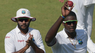 Jason Holder and Devendra Bishoo lead West Indies off the field