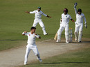 Yasir Shah celebrates after trapping Leon Johnson in front, Pakistan v West Indies, 3rd Test, Sharjah, 4th day, November 2, 2016