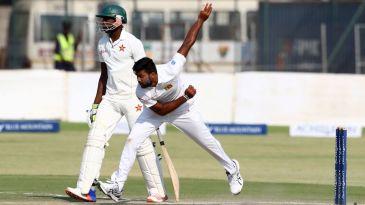 Debutant fast bowler Lahiru Kumara in action