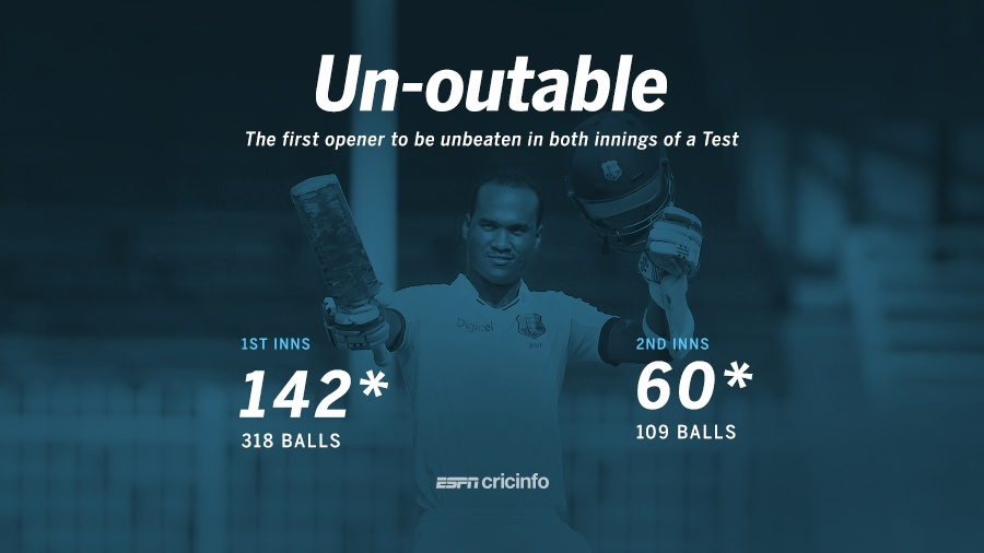 Brathwaite became the first opener to remain unbeaten in both innings of a Test