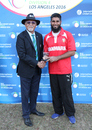 Zameer Khan accepts the Man of the Match award, USA v Denmark, ICC World Cricket League Division Four, Los Angeles, November 2, 2016