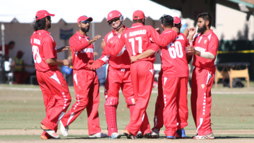 Denmark celebrates the wicket of Ravi Timbawala