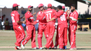 Denmark celebrates the wicket of Ravi Timbawala, USA v Denmark, ICC World Cricket League Division Four, Los Angeles, November 2, 2016