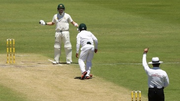 Steven Smith reacts after being adjudged lbw by umpire Aleem Dar