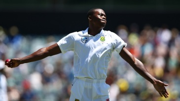 Kagiso Rabada warms up before a spell