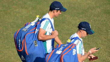 Alastair Cook and Joe Root head to the nets at the Brabourne Stadium