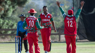Khawar Ali celebrates one of his five wickets