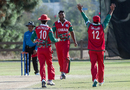 Khawar Ali celebrates one of his five wickets, Denmark v Oman, ICC World Cricket League Division Four, Los Angeles, November 4, 2016