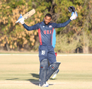Alex Amsterdam salutes the USA bench after reaching 100, USA v Jersey, ICC World Cricket League Division Four, Los Angeles, November 4, 2016