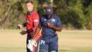 Nicholas Standford walks off to get medical attention after being hit in the mouth, USA v Jersey, ICC World Cricket League Division Four, Los Angeles, November 4, 2016