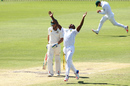 Kagiso Rabada delights in the wicket of Shaun Marsh, Australia v South Africa, 1st Test, Perth, 4th day, November 6, 2016
