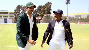 Graeme Cremer (L) and Rangana Herath (R) ahead of the toss in the second Test at Harare